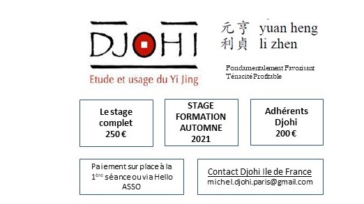 STAGE YI JING PARIS AUTOMNE 2021 - SEANCE 1